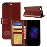 HualuBro Leagoo T5 Hülle, [All Aro& Schutz] Premium PU Leder Leather Wallet Handy Tasche Schutzhülle Hülle Flip Cover mit Karten Slot für Leagoo T5 Smartphone (Braun)