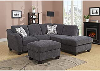 Clayton Charcoal 2pc Sectional Sofa Grey Transitional Solid Curved Polyester Wood