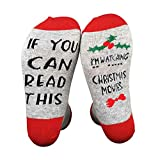 If You Can Read Christmas Movie Women Watching Christmas Movies Socks - Great Gift For Those People Who Love Movie! (Red-Flower)