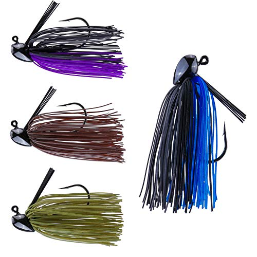 RUNCL Anchor Box - Flipping Jigs, Bass Fishing Jigs 1/2oz - Double Spike Trailer Keeper, Silicone Skirts, Taper-Shaped Streamlined Head, Weedguard System, Proven Colors - Fishing Lures (Pack of 4)