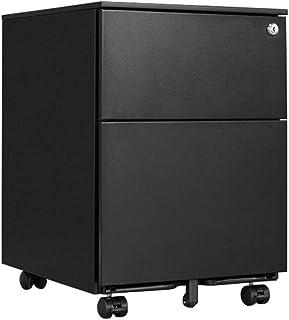 Classeur à 2 couches, poulie de bureau en acier se déplaçant avec serrure, petite armoire, (55.1x45x39cm) (Color : Black)