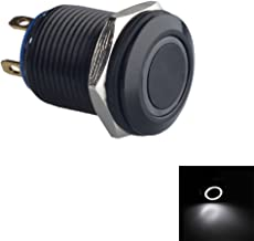 ESUPPORT Black Case 12mm White LED Light 2A Momentary Push Button Switch Stainless Waterproof Car Boat