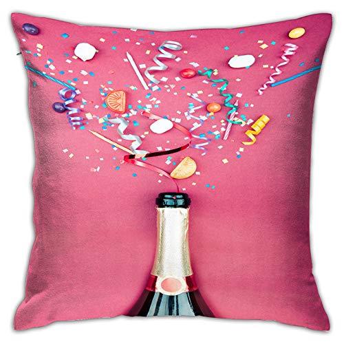 MZTYPLK Funda de Cojín,Atributos de Fiesta Coloridos vuelan Desde una Botella de Vino champán,Funda de Almohada Cuadrado para Sofá Coche Cama Sillas Decoración para Hogar (50x50cm)(1PCS)