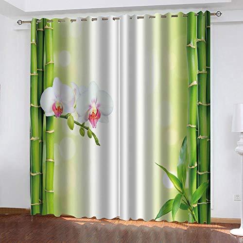 LJUKO Cortina Opaca En Cocina El Salon Dormitorios Habitación Infantil 3D Impresión Digital Ojales Cortinas Termica - -Bambú Verde Flor