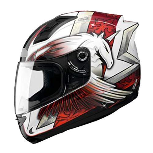 34GYP Hard hat Helmet Motorcycle Helmet Men and Women Full-Cover Four Seasons Locomotive Full Helmet Racing Helmet Multi-Color Optional Gyp (Color : Purple, Size : XL (23.2inch-23.6inch))