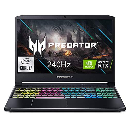 "Acer Predator Helios 300 Gaming Laptop, Intel i7-10750H, NVIDIA GeForce RTX 2070 Max-Q 8GB, 15.6"" FHD 240Hz 3ms IPS, 16GB Dual-Channel DDR4, 512GB NVMe SSD, 1TB HDD, WiFi 6, RGB KB, PH315-53-71VG"
