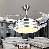 WEI-LUONG Fans de Techo Luz de Techo Moderna con Ventiladores LED Lámpara de araña Control Remoto Cuchillas retráctiles 3 Velocidades 3 Cambios de Color Cambios de iluminación