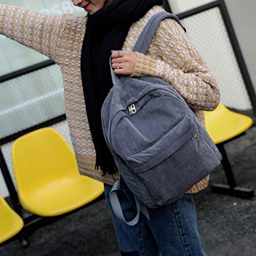 Karrychen Women Vintage Rucksack Corduroy Backpack School Bag Casual Computer Bookbag