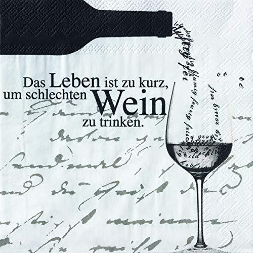 """Weinservietten""""Das Leben ist zu kurz."""""""