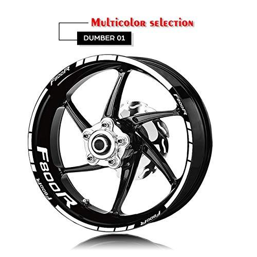 Anhuidsb Neumáticos Rim Moto Personalizado de la Etiqueta de neumático Logo Decal Decoración Kit for BMW F800R Interior y Exterior (Color : XT LQ F800R Wht)