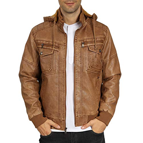 WULFUL Men's Faux Leather Jacket with Removable Hood Winter Vintage Leather Coat