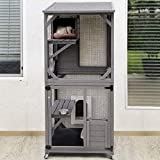 Cat House Outdoor Cage Cat Enclosure on Wheels,Large Wooden Kitty Catio with Resting Box,PVC Layer
