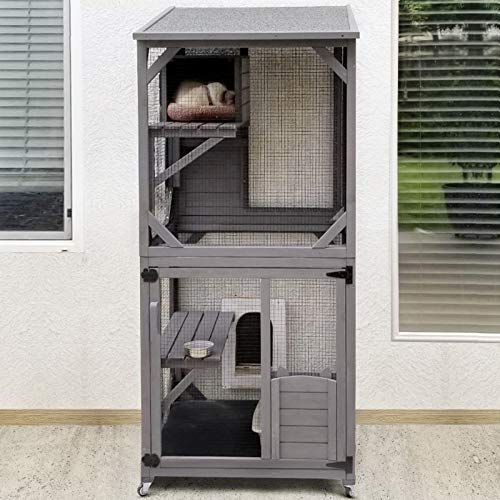 GUTINNEEN Cat House Outdoor Cage Cat Enclosure on Wheels,Large Wooden Kitty Catio with Resting...