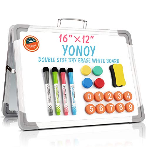 YONOY Small Dry Erase White Board, Portable White Board Double-Sided Magnetic Board Stand, Foldable Desktop White Boards Easel for Kids Students Teacher for School Home Kitchen Office 12x16 Inch