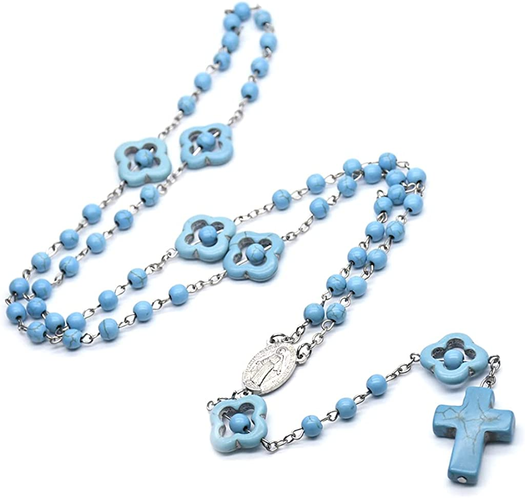 BUZHI Turquoise Rosary Necklace, Turquoise Marble Beads Rosary Catholic Necklace Miraculous Medal Cross Religious Prayer Beads Jewelry