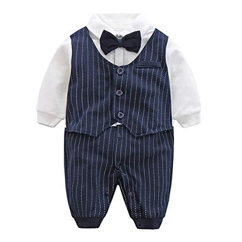 FAIRY BABY Baby Outfits Langarm Strampler Jungen Smoking Baby Baumwolle Gentleman Outfit Bowknot Weihnachts/Taufstrampler Kleidung, Navy Blau Streifen