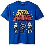STAR WARS Boys' Big Imperial Pixelated Logo Vader Trooper Graphic Tee, Royal, YXL