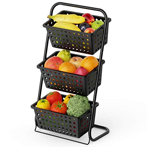 3 Tier Fruit Basket Stand, Cambond Market Basket Stand Countertop Fruit Holder for Fruit and Vegetable Storage, Produce Storage, Snacks, K-cup, Potato, Onion, Black