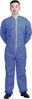 AMZ Basic Protection Coverall. Navy Blue Adult Disposable Coverall X-Large Virgin Polypropylene Fabric Apparel with Zipper Front Entry and Elastic Wrists Unisex Workwear for Industrial Application