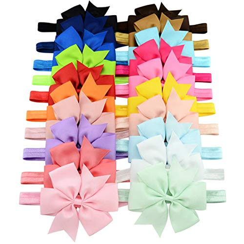 WillingTee Baby Girls Headbands 3quot Boutique Grosgrain Ribbon Hair Bow Headbands for Baby Girls Infants Toddler Newborns and Kids