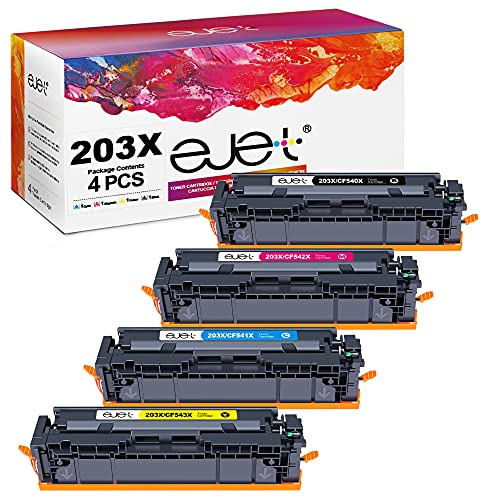 ejet Kompatibel Tonerkartusche Ersatz für HP 203X CF540X für Color-Laserjet Pro MFP M281fdw M281fdn M281cdw M280nw M254dw M254nw M254dn M281 (Schwarz,Cyan,Gelb,Magenta, 4er-Pack)