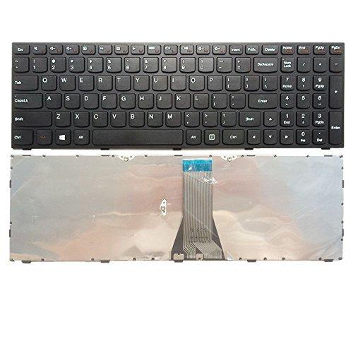 ZGQA-GQA Teclado para computadora portátil Nuevo Teclado para computadora portátil con reemplazo de Marco para Lenovo IdeaPad 300-15ISK 300-15IBR 300-17ISK, diseño de EE. UU. Color Negro