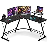 Foxemart L Shaped Gaming Desk 51'' Corner Game Desk Home Office Desks with Large Monitor Stand Computer Desk with Round Corner, Black