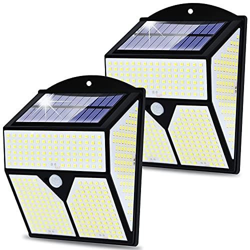Luz Solar Exterior 436 LED, [2 Paquete] 300 ° Gran Angular Foco Solar Sensor de Movimiento Lámpara Solar Inalámbricas, IP65 Impermeable Luz LED Solar para Jardín Garaje