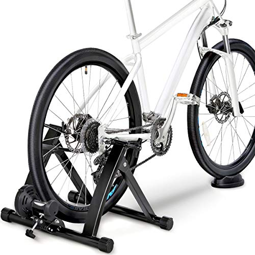Yaheetech Magnetic Bicycle Trainer Bike Turbo Trainer Indoor Stationary Exercise Stand Steel Frame, Magnetic Resistance