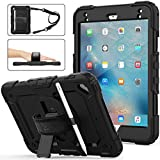 iPad Mini 5/4 Case, SEYMAC stock 3-Layer Protection Case with [360 Degrees Rotating Stand] Hand Strap &[Pencil Holder] [Screen Protector] for iPad Mini 4th/5th Generation 7.9 inch (Black)