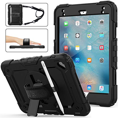 SEYMAC Stock iPad Mini 5/4 Case, Three Layer Hybrid Drop Protection Case with [360 Rotating Stand] Hand Strap&[Stylus Pencil Holder] Screen Protector for iPad Mini 4th/5th Generation 7.9 inch (Black)