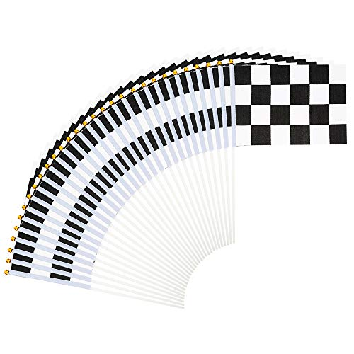 Gobesty Black and White Chequered Flag, 30 stuks Racing Handheld Flag, Mini Geruit Vlaggen, Zwart en Wit Racing Vlaggen met Plastic Stick voor Verjaardag Racing Car Party en Racing (8,3 x 5,5 inch)