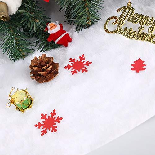 Herefun Weihnachtsbaumdecke, Plüsch Weihnachtsbaum Röcke, Christbaumständer Teppich, Partydekoration Christbaumdecke Weiß, Weihnachtsdekoration für Neujahr Party Urlaub Dekorationen