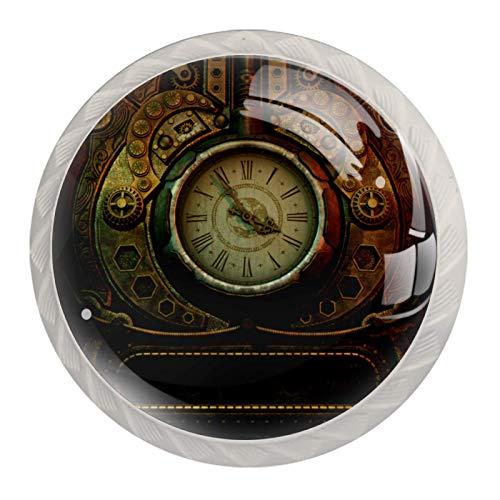 Mehrfarbige Türknäufe – Schrankknäufe Küchenschranktürknäufe – Set mit 4 antiken Uhren