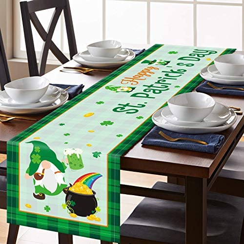 CiyvoLyeen Happy St Patrick s Day Gnomes Table Runner Saint Paddy s Day Table Setting Decor product image
