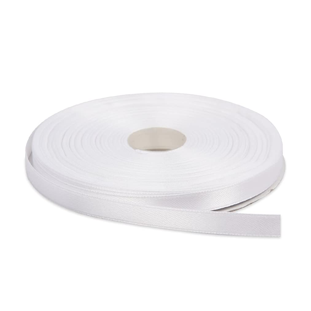 Topenca Supplies 3/8 Inches x 50 Yards Double Face Solid Satin Ribbon Roll, White