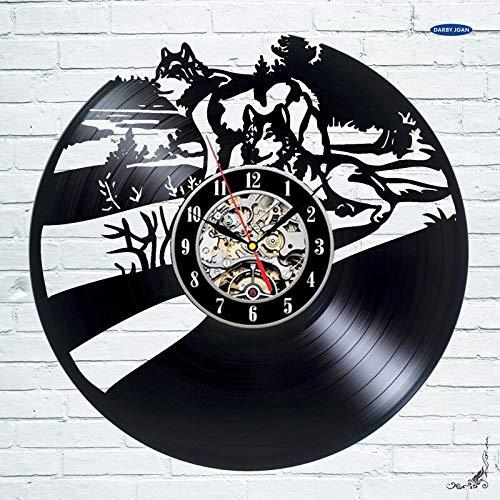 FDGFDG Wolf Husky Schlitten Hund Vinyl Schallplatte Wanduhr Home Decoration