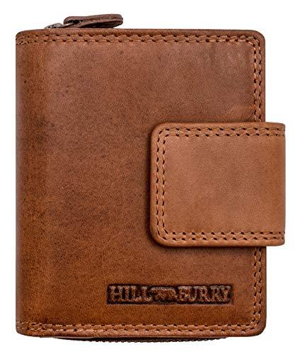 Hill Burry Cartera de Cuero para Mujer | Billetera - Monedero de Cuero Genuino con Aspecto Vintage | Mujeres - Hombre | Compacto - Pequeño - Minimalista (marrón)