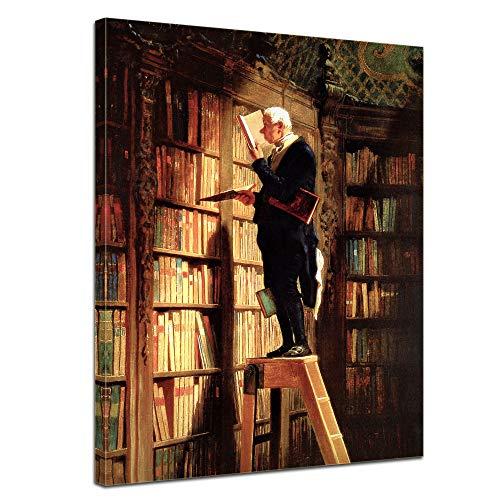 Wandbild Carl Spitzweg Der Bücherwurm - 30x40cm hochkant - Alte Meister Berühmte Gemälde Leinwandbild Kunstdruck Bild auf Leinwand