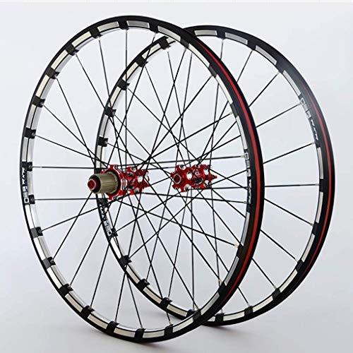 WYJW Juego de Ruedas de Bicicleta 26/27.5/29'MTB CNC Llantas de aleación de Doble Pared Bujes de Carbono Freno de Disco 24H QR NBK Rodamiento Sellado para Casete de 7-11 velocidade