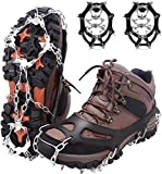 MIABOO Ice Cleats Crampons Traction Snow Grips for Boots Shoes Women Men Anti Slip 19 Stainless Steel Spikes Traction Cleats System Safe Protect for Hiking Fishing Walking Climbing Mountaineering (L)