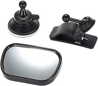Meiyiu 2 in 1 Mini Safety Car Back Seat Baby View Mirror Adjustable Baby Rear Convex Mirror Black