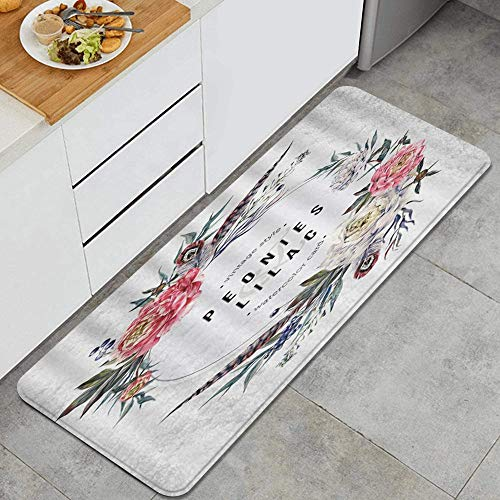 LISNIANY Kitchen Mats Non slip Mats Doormats,Vintage Colorful Garland Pink White Peonies Pheasant Feathers,Bedroom Bathroom Area Rugs Carpet,Polyester Absorbent Floor Mats