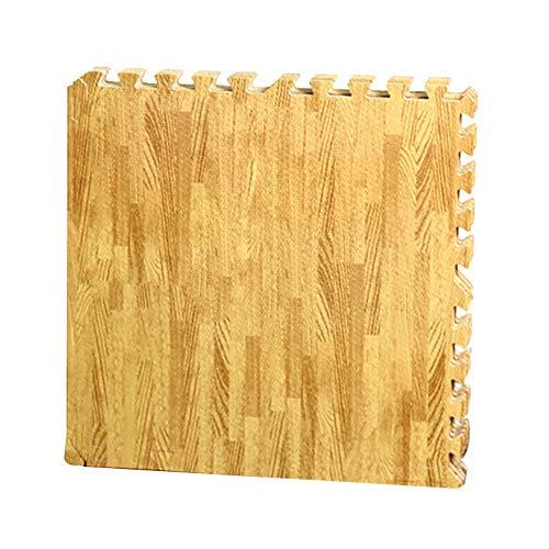 Haihuic - Juego de alfombrillas protectoras (18 unidades, 30 x 30 x 1 cm, para protección del suelo, deportes, gimnasio, sótano, aspecto de madera clara)