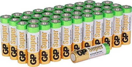 Oferta de GP Batteries Super Alkaline AA Recargable–Cromado/Negro/Rojo (Pack de 40)