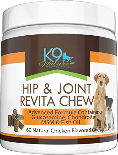 K9 Nature Glucosamine Chondroitin MSM Pure Fish Oil Chews for Small or Large Dogs – Pet Hip and Joint Supplement with Omega 3 for Senior Dog Health & Anti Inflammatory Arthritis Pain Relief 60 Treats
