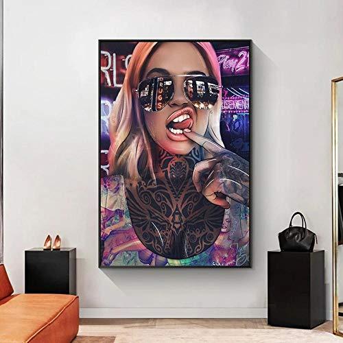 XLXZZ Abstract Sexy Bad Girl con Gafas de Sol Pinturas en Lienzo Graffiti Tattoo Mujer Carteles Impresiones Arte de la Pared Imagen Decoración para el hogar-50x70cmx1 pcs sin Marco