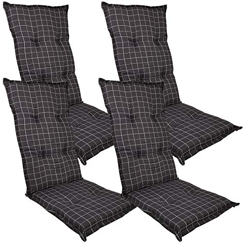 DILUMA Hochlehner Auflage Naxos für Gartenstühle 118x49 cm 4er Set Karo Anthrazit - 6 cm Starke Stuhlauflage mit Komfortschaumkern und Bezug aus 100% Baumwolle - Made in EU mit ÖkoTex100