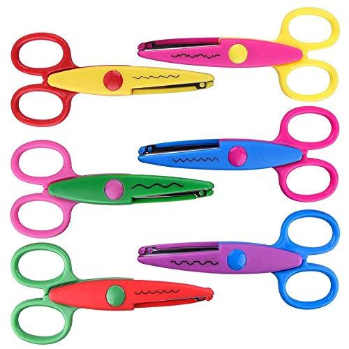 Ritte 6 Pezzi Forbici per Bambini, Forbici di Sicurezza per Bambini, Forbici di Sicurezza per Bambini Creativi in Plastica ABS per Artigianato Fai-da-Te, Taglio Carta per Bambini (6 Stili)