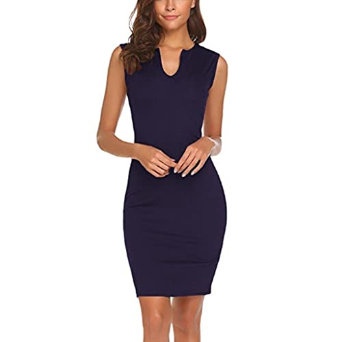 b81cbc22ea9 Women s Elegant Dress - Saihui Vintage Sleeveless V Neck Wear to Work Office  Knee Length Bodycon